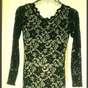 Arden B black nude lace bodycon dress